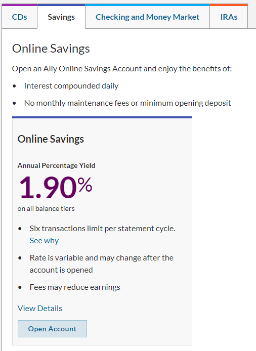 savings account yield example