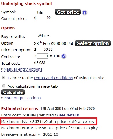 selling put example tsla